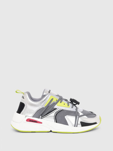 Sneaker in tessuto mesh e pelle metallizzata