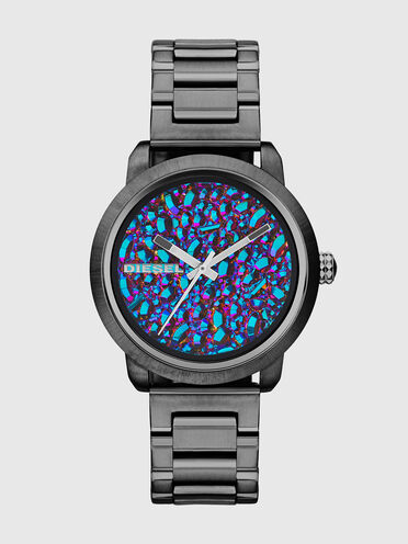Orologio grigio con pietre arcobaleno