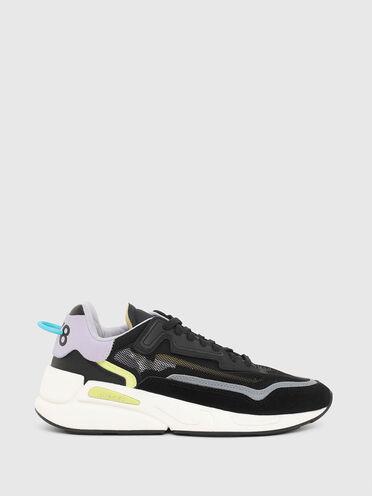 Sneaker sfoderate in tessuto mesh e pelle scamosciata