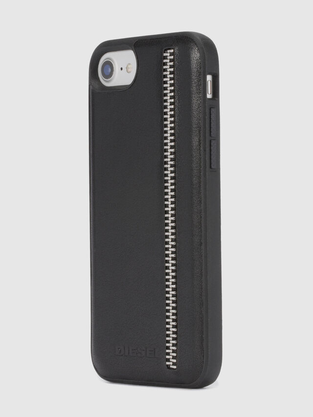 ZIP BLACK LEATHER IPHONE 8 PLUS/7 PLUS/6s PLUS/6 PLUS CASE, Nero