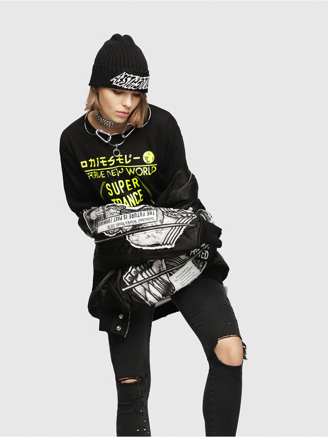 Diesel - T-JACKY-H, Nero/Giallo - T-Shirts - Image 4