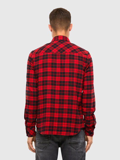 Diesel - S-EAST-LONG-CHK, Nero/Rosso - Camicie - Image 2