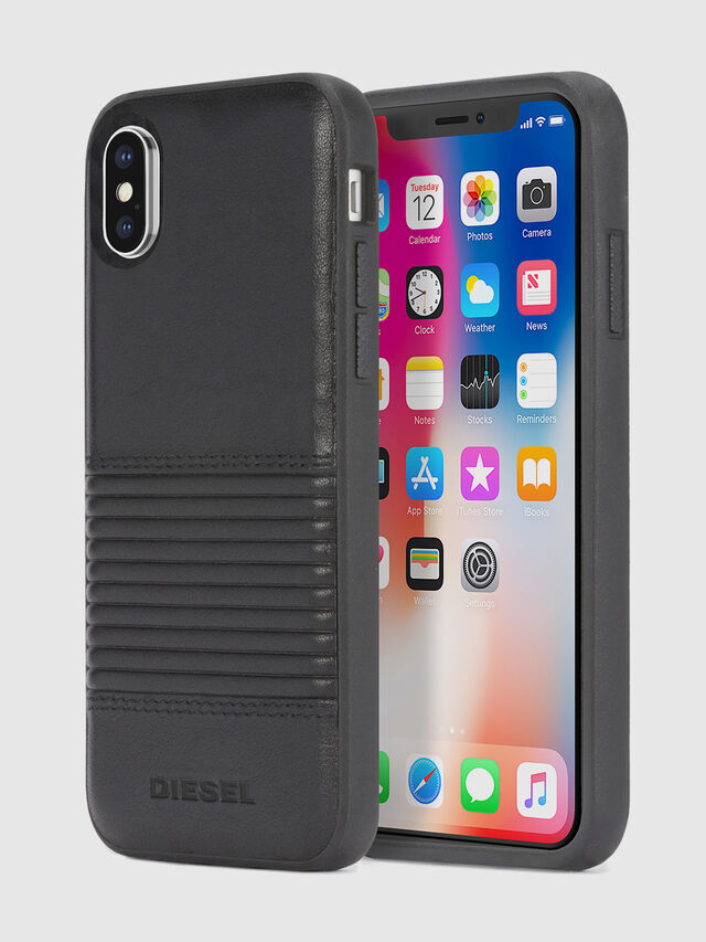 Diesel - BLACK LINED LEATHER IPHONE X CASE, Nero Cuoio - Cover - Image 1