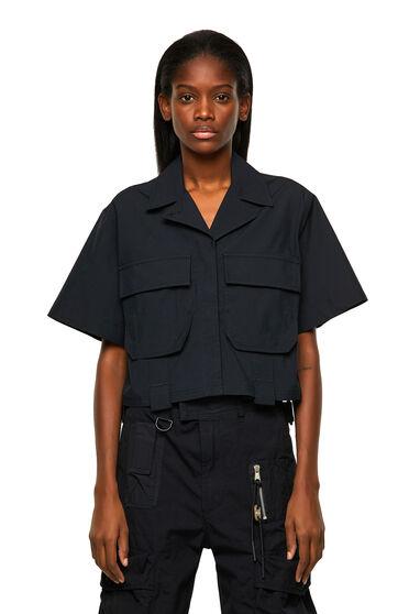 Camicia militare in popeline di cotone