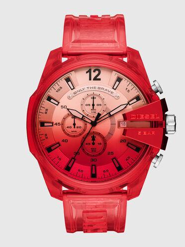 Cronografo Mega Chief con cinturino in poliuretano rosso