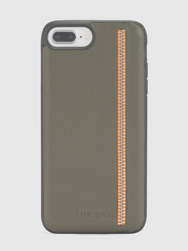 Diesel ZIP OLIVE LEATHER IPHONE 8 PLUS/7 PLUS/6s PLUS/6 PLUS CASE, Verde Oliva - Cover - Image 2