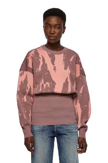 Pullover jacquard con fascia alta in vita