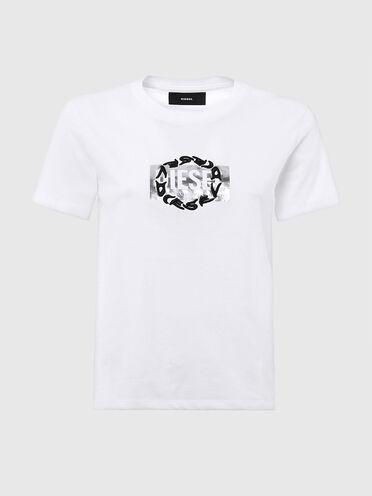 T-shirt con stampa logo doppio