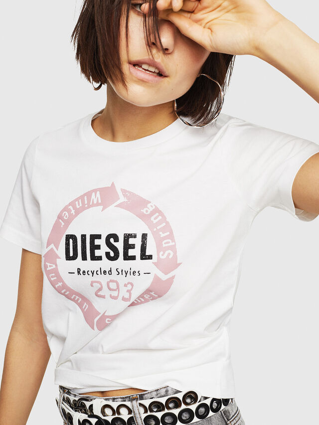Diesel - T-SILY-C1, Bianco - T-Shirts - Image 4