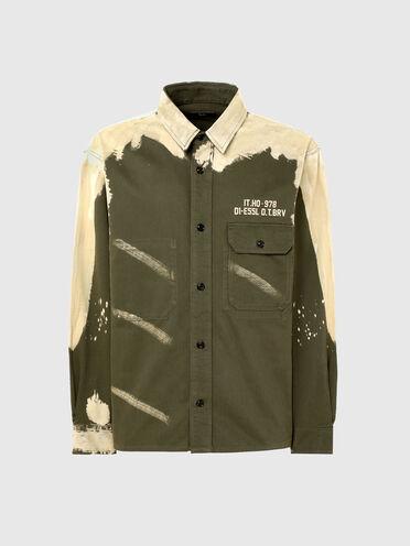 Camicia di raso con effetto bleach