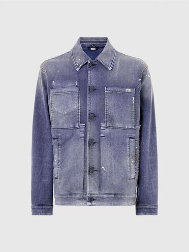 Giacca stile workwear in velvet denim sovratinto