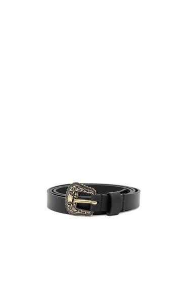 Cintura in pelle con elementi in metallo decorati con motivo floreale in rilievo