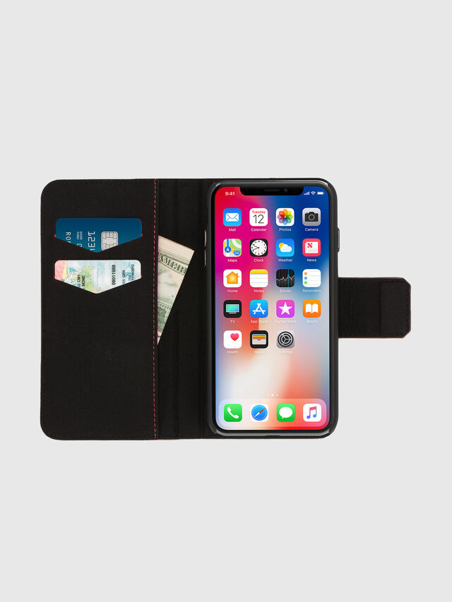 Diesel - BLACK LINED LEATHER IPHONE X FOLIO, Nero - Cover a libro - Image 6