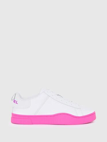 Sneaker in pelle con suola a contrasto