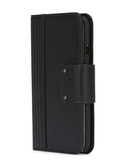 Diesel - BLACK LINED LEATHER IPHONE 8 PLUS/7 PLUS FOLIO,  - Cover a libro - Image 2