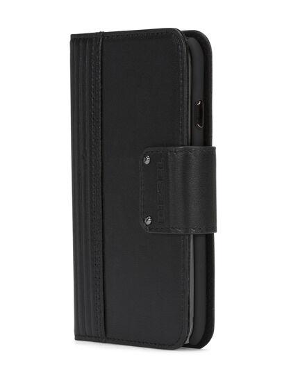 Diesel - BLACK LINED LEATHER IPHONE 8 PLUS/7 PLUS FOLIO, Nero - Cover a libro - Image 2