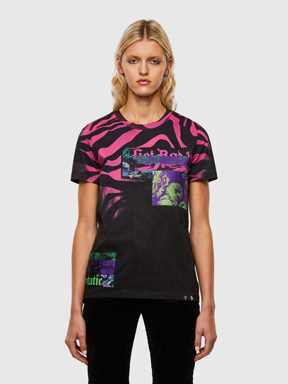 Diesel - T-SILY-R3, Nero/Rosa - T-Shirts - Image 1