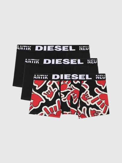 Diesel - UMBX-DAMIENTHREEPACK, Nero/Rosso - Boxer stretch - Image 1
