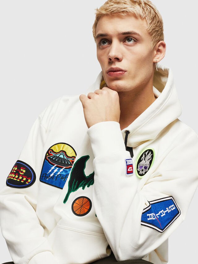 Diesel - S-ALBY-PATCHES, Bianco - Felpe - Image 3