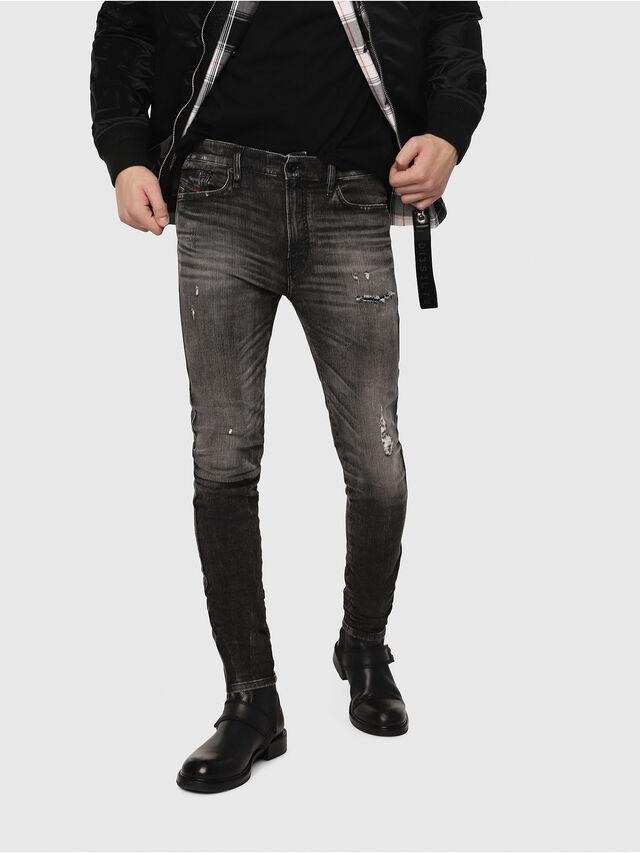 Diesel - D-Reeft JoggJeans 0077S, Nero/Grigio scuro - Jeans - Image 1