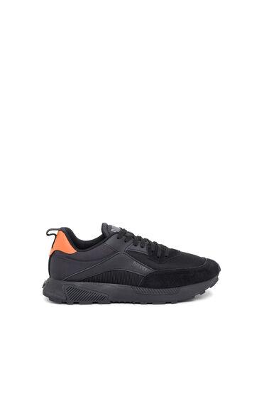 Sneaker in tessuto mesh, tessuto antistrappo e pelle scamosciata