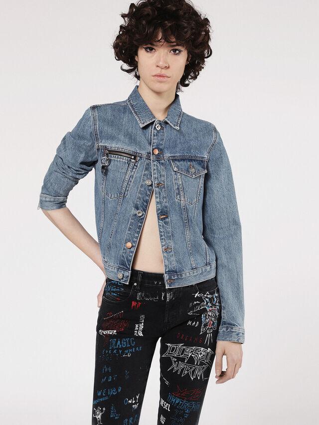 Diesel - DE-VELVET-ZIP, Blu Jeans - Giacche in denim - Image 1