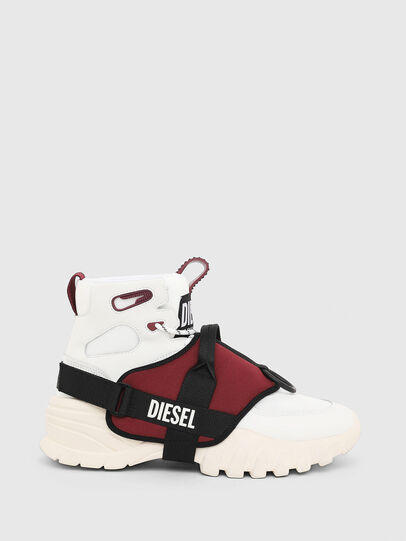 Diesel - S-SHARQUEZ MID, Bianco/Rosso - Sneakers - Image 1