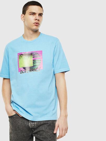 Diesel - T-JUST-NEON-S1, Azzurro - T-Shirts - Image 1