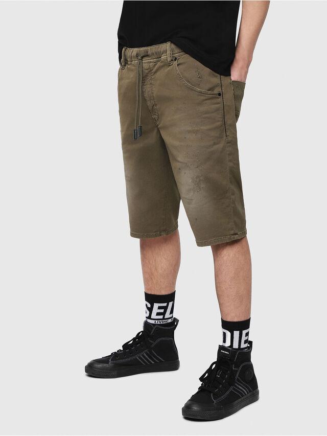 Diesel - D-KROOSHORT JOGGJEANS, Verde Militare - Shorts - Image 1