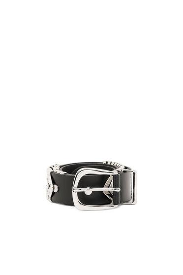Cintura in pelle con losanghe decorative in metallo