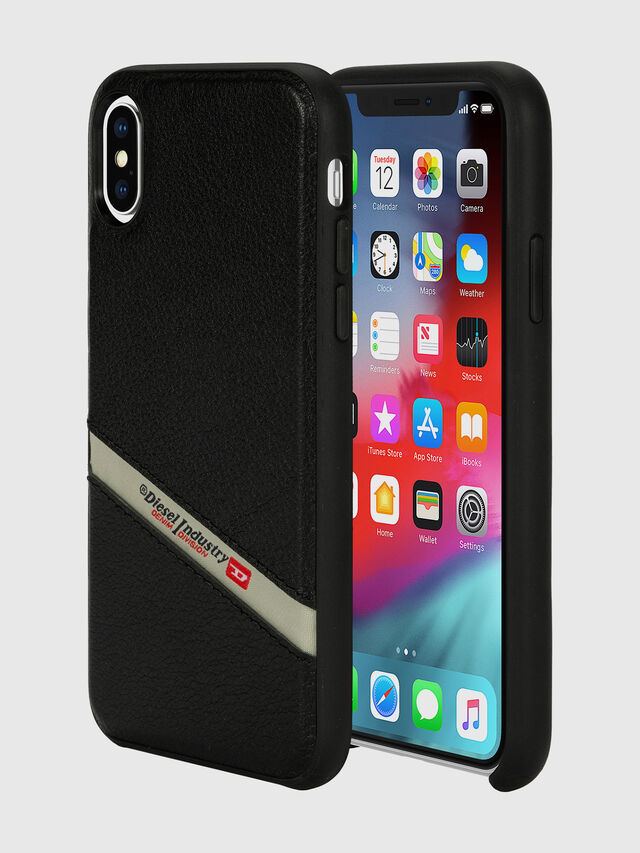 Diesel - DIESEL LEATHER CO-MOLD CASE FOR IPHONE XS & IPHONE X, Nero - Cover - Image 1