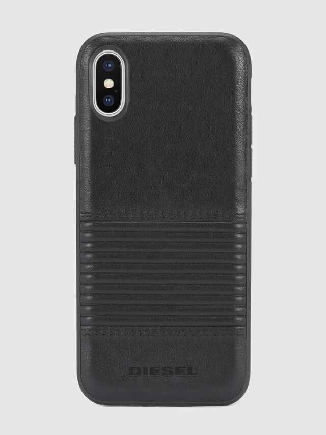 BLACK LINED LEATHER IPHONE X CASE, Nero