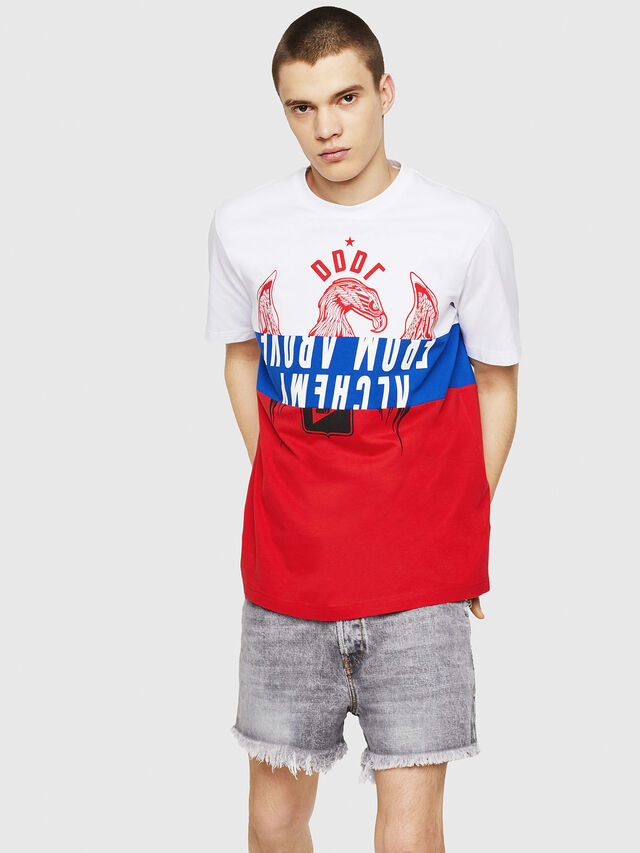 Diesel - T-JUST-A1, Bianco/Rosso/Blu - T-Shirts - Image 4