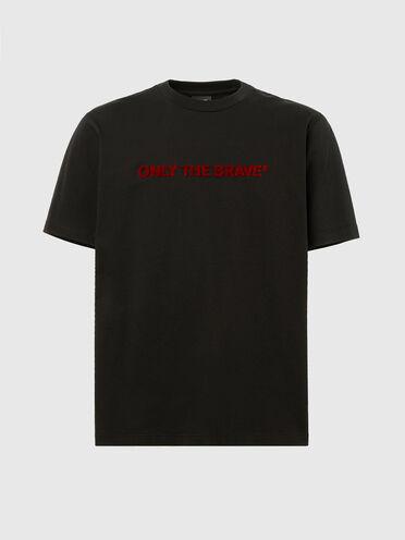 T-shirt con ricamo con punto tappeto