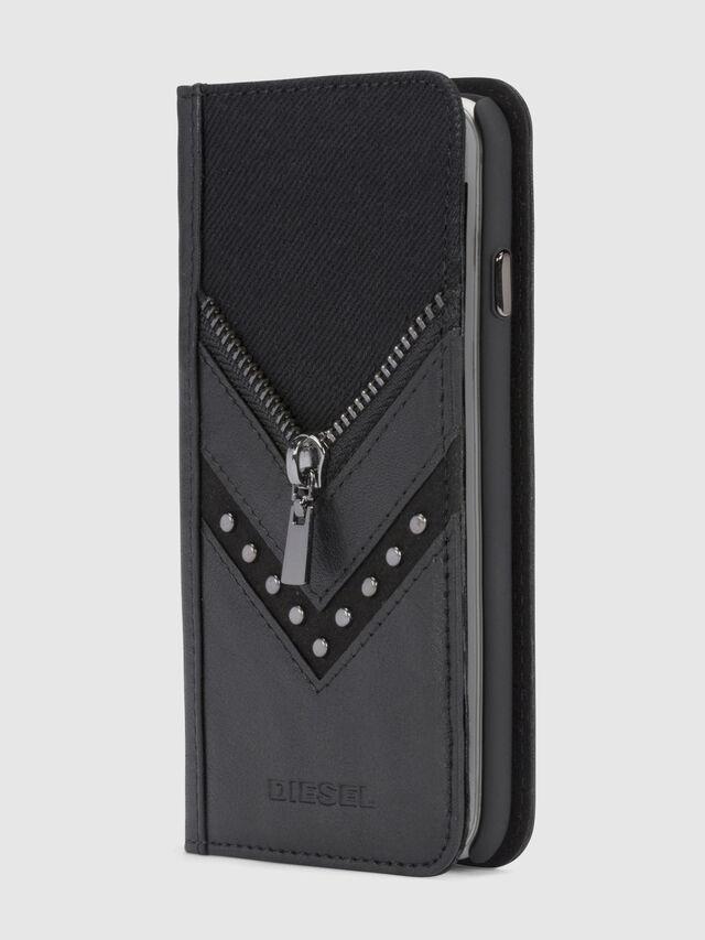 Diesel - BLACK DENIM/STUD/ZIPPER IPHONE X FOLIO, Nero - Cover a libro - Image 4