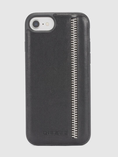 Diesel - ZIP BLACK LEATHER IPHONE 8 PLUS/7 PLUS/6s PLUS/6 PLUS CASE, Nero - Cover - Image 2