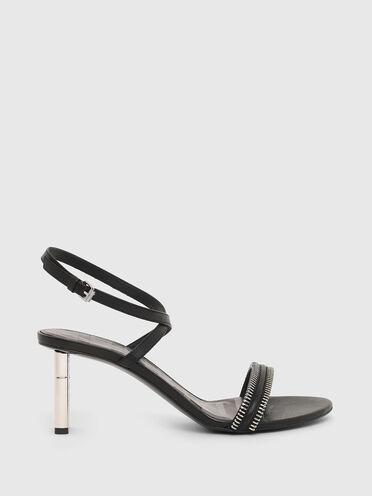Sandali in pelle con tacco medio