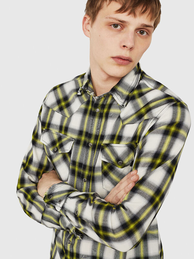 Diesel - S-EAST-LONG-G, Bianco/Nero - Camicie - Image 4
