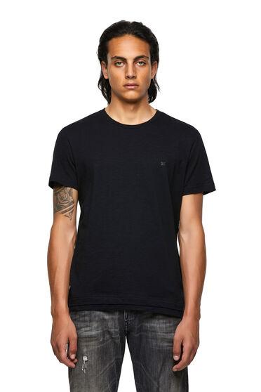 T-shirt con doppio orlo in cotone fiammato