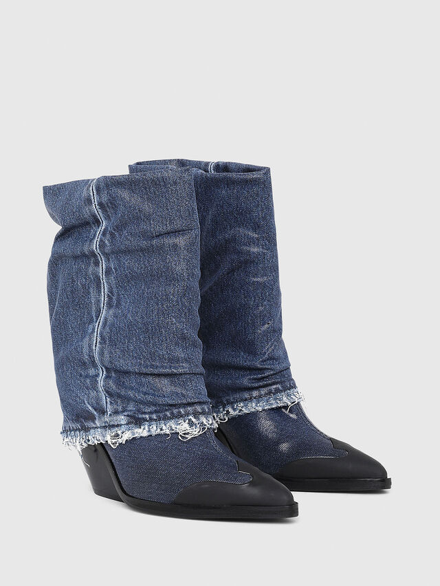 bb9472dc90 D-WEST MB Donna: Stivali stile cowboy in denim lucido | Diesel