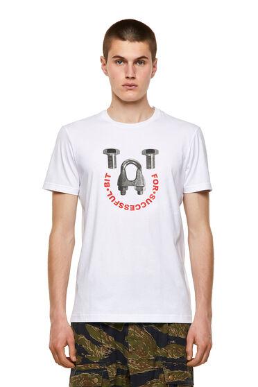 T-shirt in cotone con stampa di bulloni