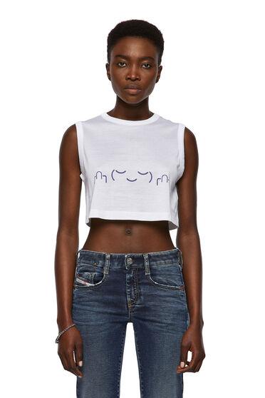 T-shirt smanicata Green Label taglio cropped con stampa di una faccina