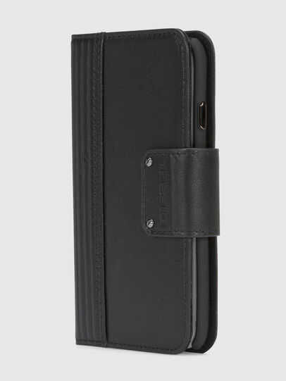 Diesel - BLACK LINED LEATHER IPHONE 8/7 FOLIO, Nero - Cover a libro - Image 2