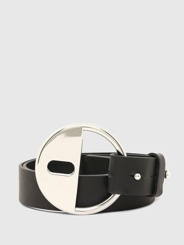 Cintura in pelle con chiusura twist-lock