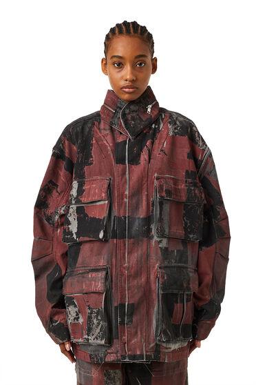 Field jacket in denim camouflage