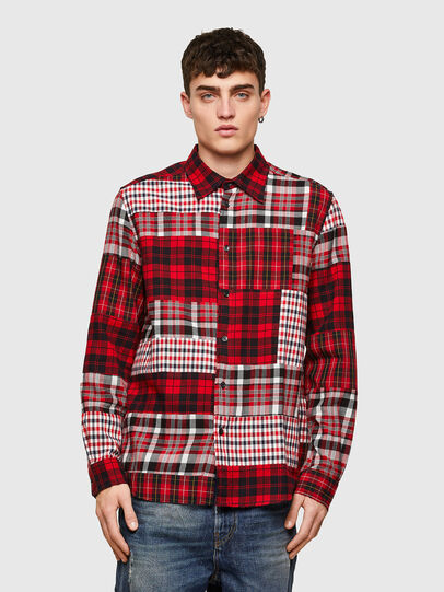 Diesel - S-MORRIS, Rosso/Bianco - Camicie - Image 1