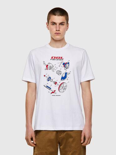 T-shirt in cotone con stampa realizzata a mano