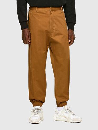 Pantaloni in gabardine con inserti a costine
