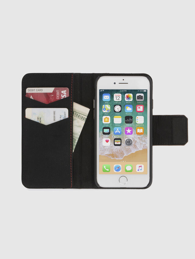 BLACK LINED LEATHER IPHONE 8/7 FOLIO, Nero