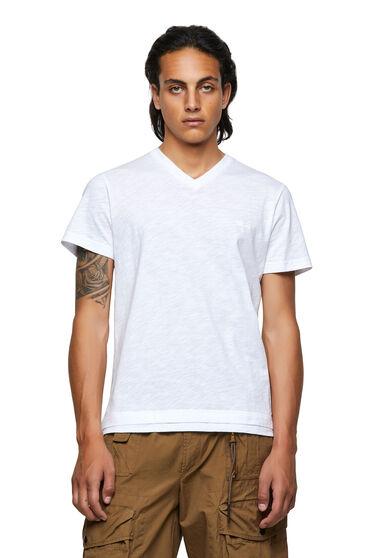 T-shirt con scollo a V in cotone fiammato